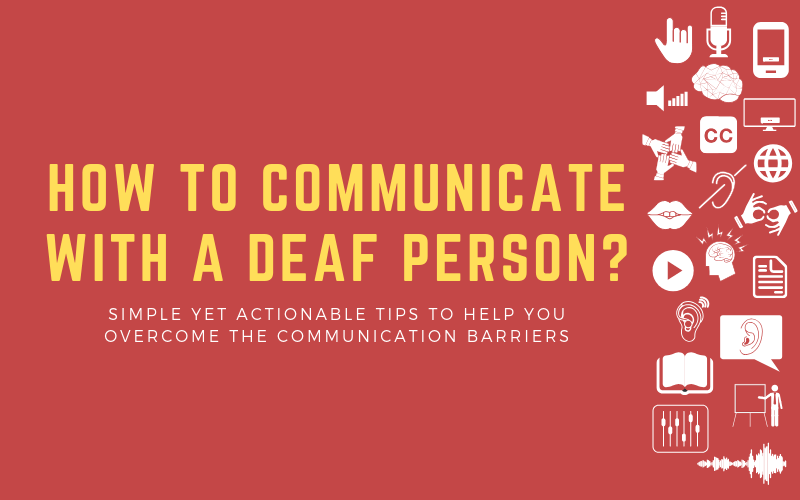 """Blog image with """"How to communicate with a deaf person"""""""