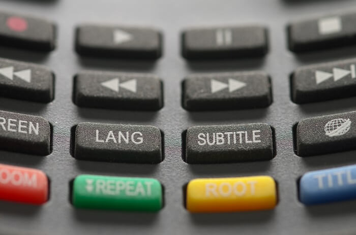 Close of subtitle button a grey remote control