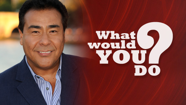 'What Would You Do? logo with the presenter John Quiñones