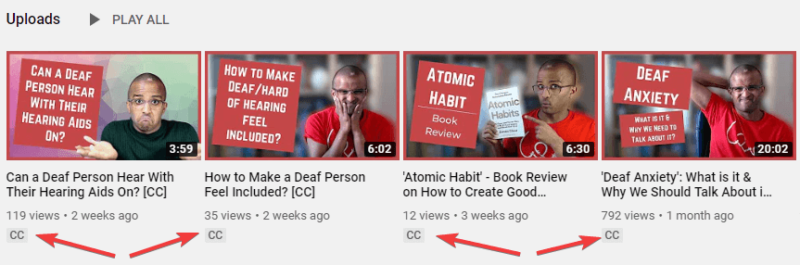 Screenshot of Ahmed's YouTube videos where the arrow is pointing to the 'CC' label under 4 videos