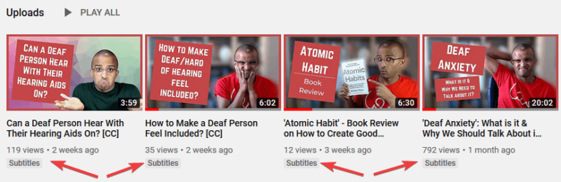 Screenshot of Ahmed's YouTube videos where the arrow is pointing to the 'Subtitles' label under 4 videos