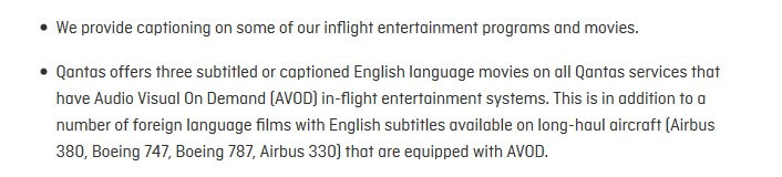 Qantas Info on inflight entertainment: 'We provide captioning on some of our inflight entertainment programs and movies.'