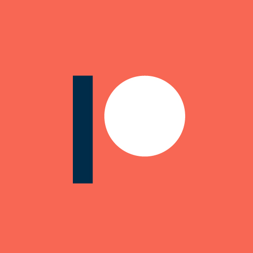 The 'P' logo of Patreon with coral/orange background