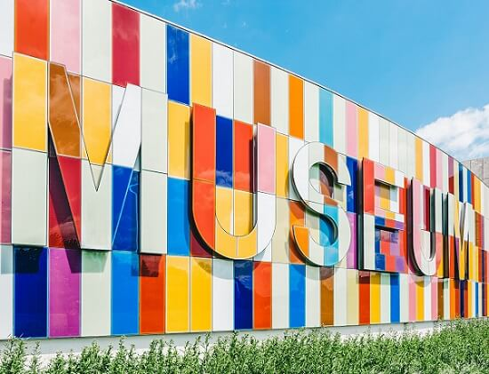 Colourful sign of 'Museum' at Waterloo Region Museum in Canada