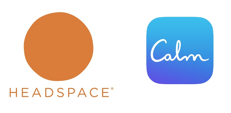 Headspace and Calm logos side by side