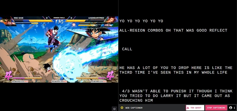 Split screen with Dragonballz video game with auto captions on the right-hand side