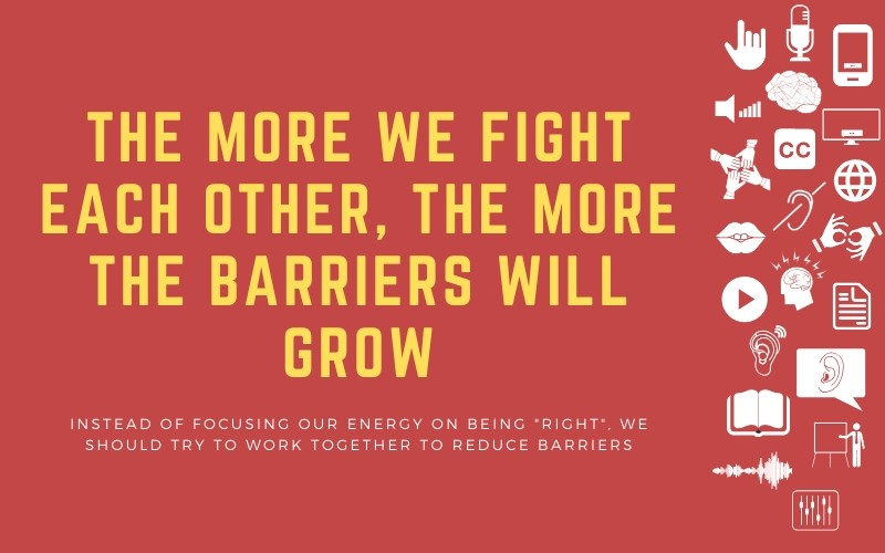 "Image for post with title: 'The More We Fight Each Other, the More The Barriers Will Grow - Instead of focusing our energy on being ""right"", we should try to work together to reduce barriers'"