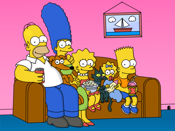 The Simpsons sitting on their brown couch in their living room