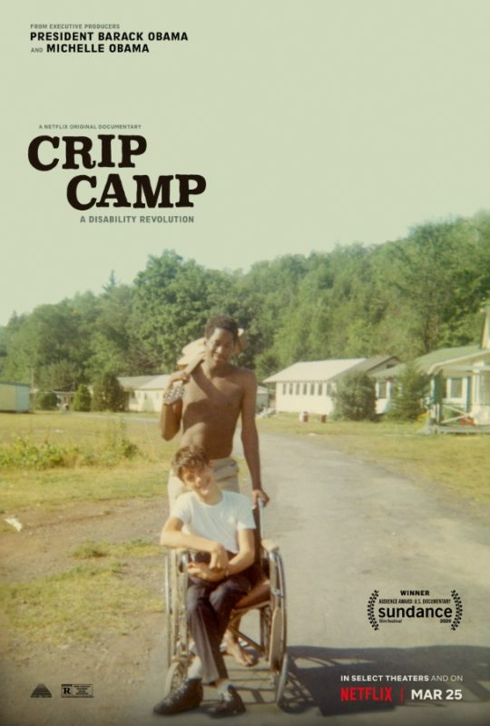 Official poster for 'Crip Camp' documentary, featuring an old photograph of a camp staff holding a guitar over his shoulder pushing a wheelchair user