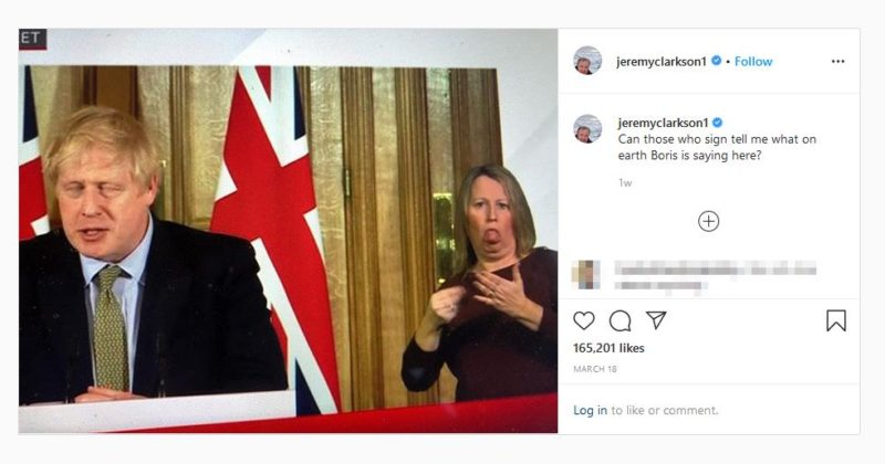"""Jeremy Clarkson mocking sign language interpreter facial expression beside Boris Johnson by asking """"Can those who sign tell me what on earth Boris is saying here?"""""""
