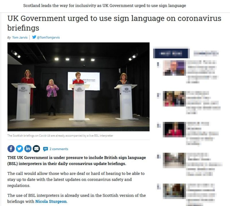 The National newspaper with headline 'UK government urged to use sign language on coronavirus briefings'