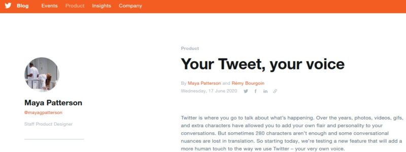 Screenshot of Twitter's blog post entitled 'Your Tweet, your voice'