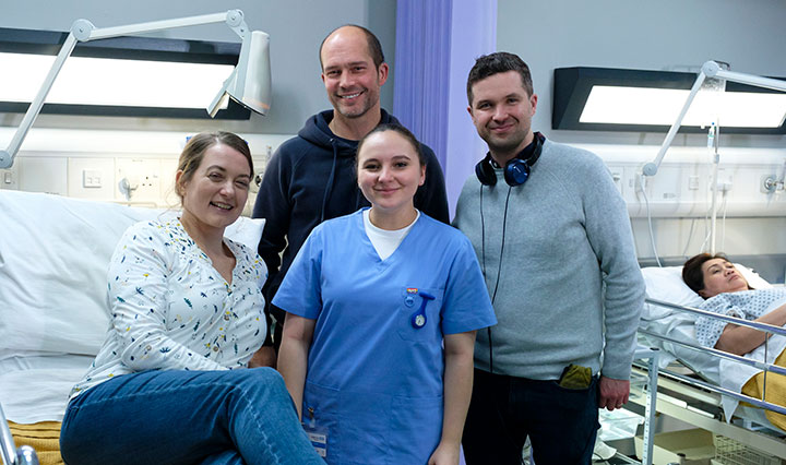 Part of Casualty crew (from left to right) - Sophie Stone (actor), John Maiden (director), Gabriella Leon (actor), Charlie Swinbourne (co-writer)