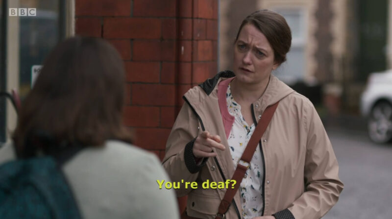 "Clip of a Casualty episode where Susie is signing to Jade and the open-caption at the bottom is ""You're deaf?"""
