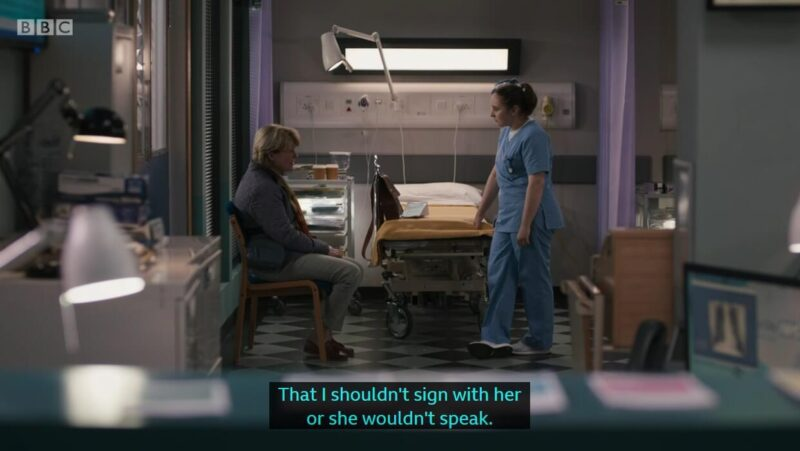 "Clip of Casualty, where Theresa said to Jade (and captioned) ""That I shouldn't sign with her or shouldn't speak"""