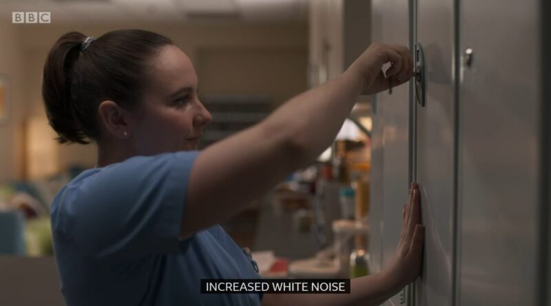 "Clip of Casualty where Jade is locking up her work locker, and the caption at the bottom is ""increased white noise"""