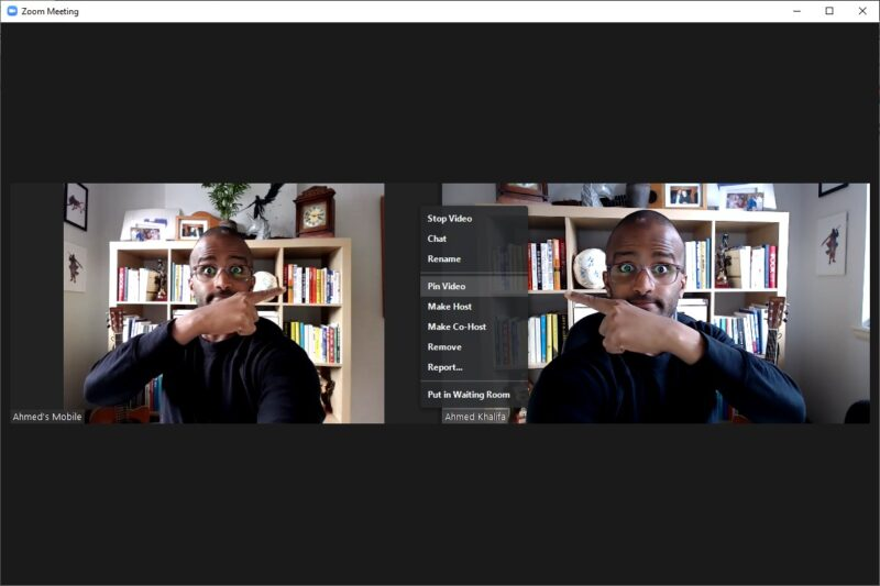 Screenshot of two screen's of Ahmed on Zoom pointing to the instruction on how to pin video