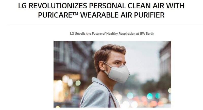 Screenshot of press release by LG with the title 'LG Revolutionizes Personal Clear Air with Puricare™ Wearable Air Purifier' and a picture of a white male in a wearing hi-tech face mask