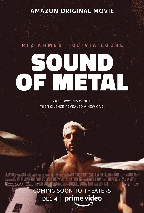 'Sound of Metal' poster featuring Riz Ahmed topless and playing the drums