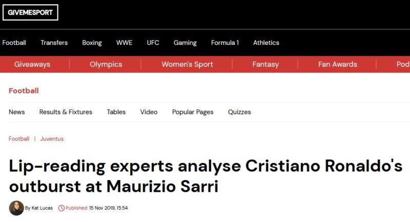 "GiveMeSport website with the headline: ""Lip-reading experts analyse Cristiano Ronaldo's outburst at Maurizio Sarri"""