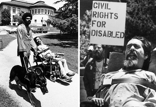Two black and white photos side-by-side; left side is with Ed Roberts in wheelchair beside a black man walking his dog. In the right, Ed Roberts with the sign behind him 'civil rights for disabled'