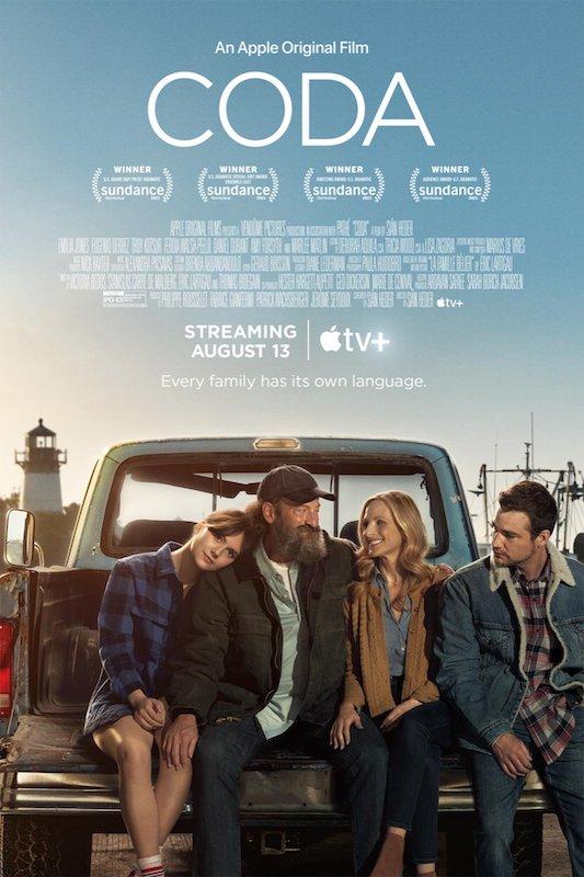 CODA movie poster with Emilia Jones, Troy Kotsur, Marlee Matlin and Daniel Durant
