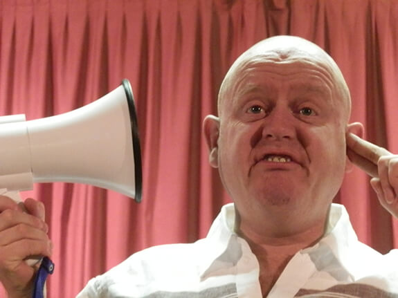 John Smith the deaf comedian with a megaphone