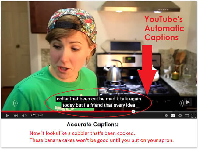 Example of bad YouTube auto-caption