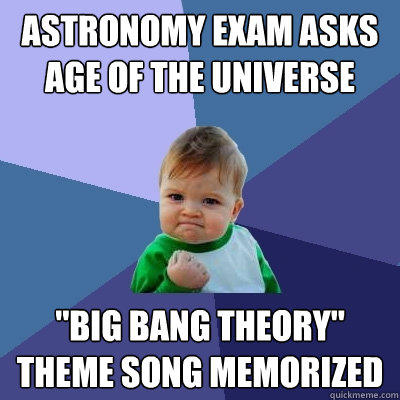 The Big Bang Theory meme about astrology exam and the theme tune of the show