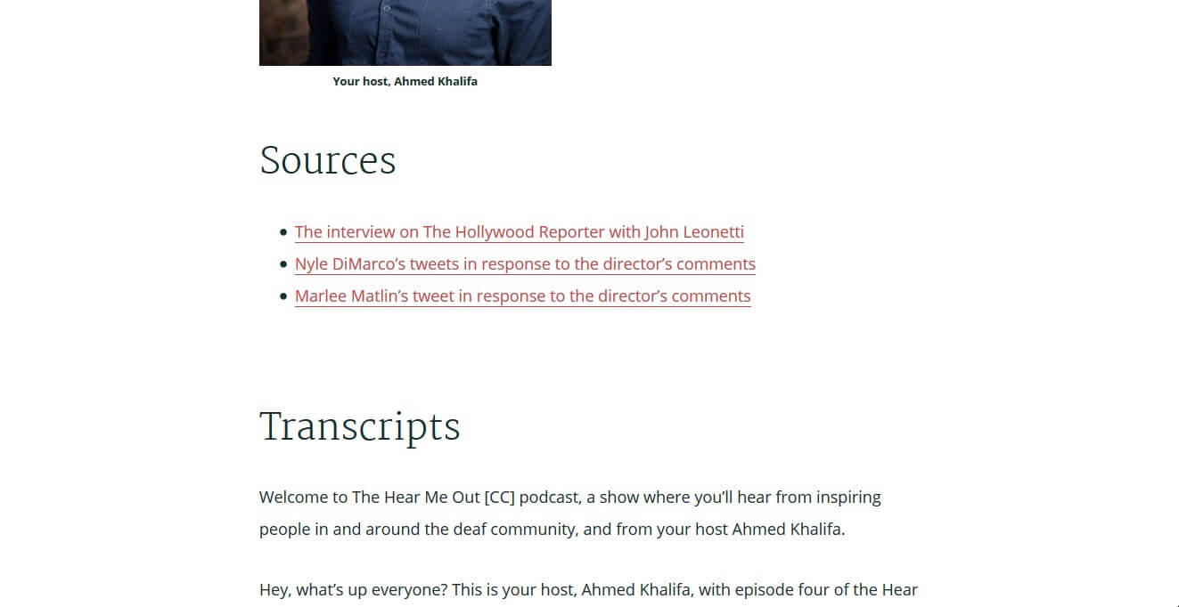 Example of a podcast shownote which include related links and transcripts