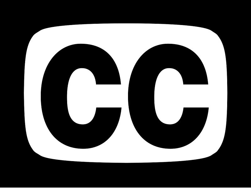 Black and white closed captions logo written as CC