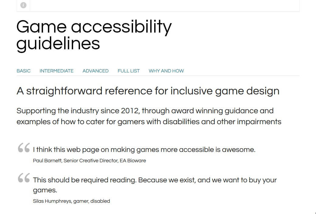 Screenshot of Games Accessibility Guidelines website