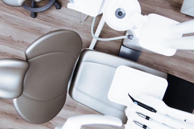 View of dentist chair from above