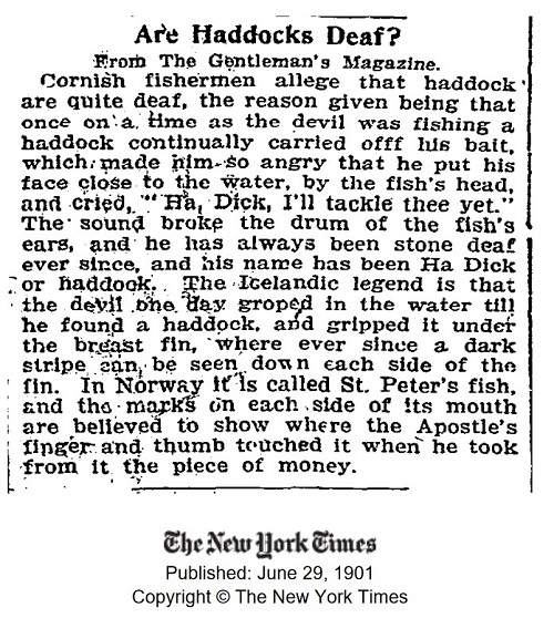 1901 New York Times article entitled 'Are Haddocks Deaf?'